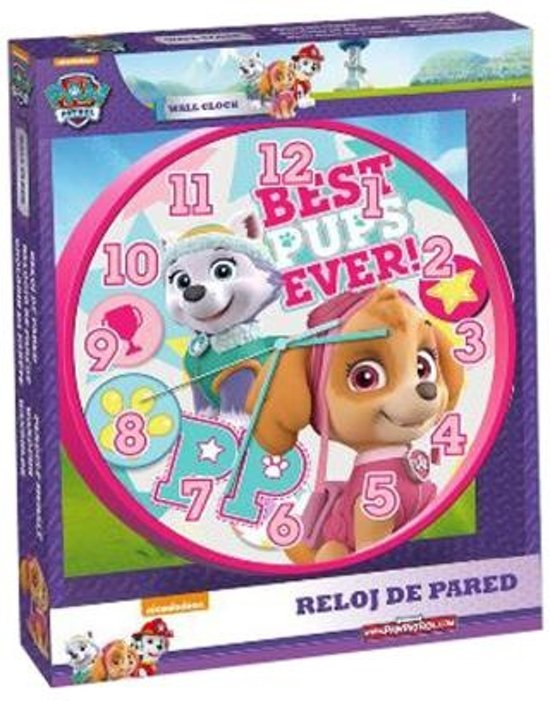 Paw Patrol klok - roze - Best pups ever