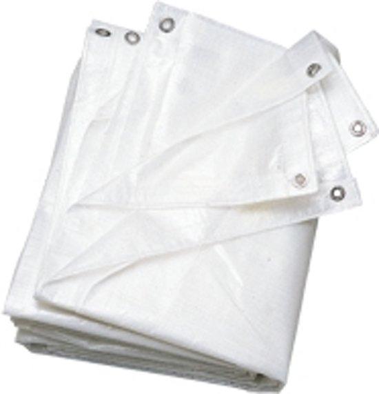 Afdekzeil wit van PE-weefsel met aluminium ogen, 3 x 4m