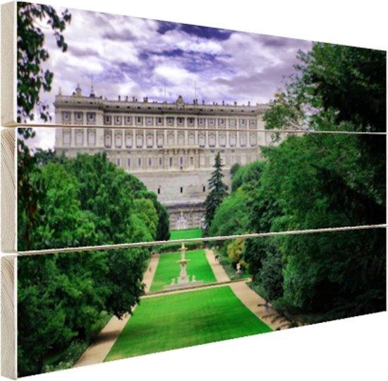Het Koninklijk Paleis in Madrid Hout 120x80 cm - Foto print op Hout (Wanddecoratie)