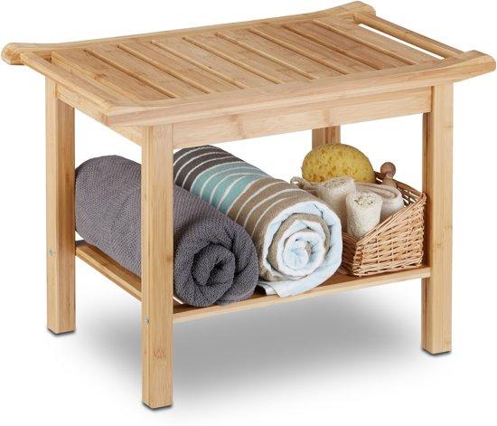 relaxdays - bamboe badkamer bankje - bankje met schoenenvak - houten bank - hout