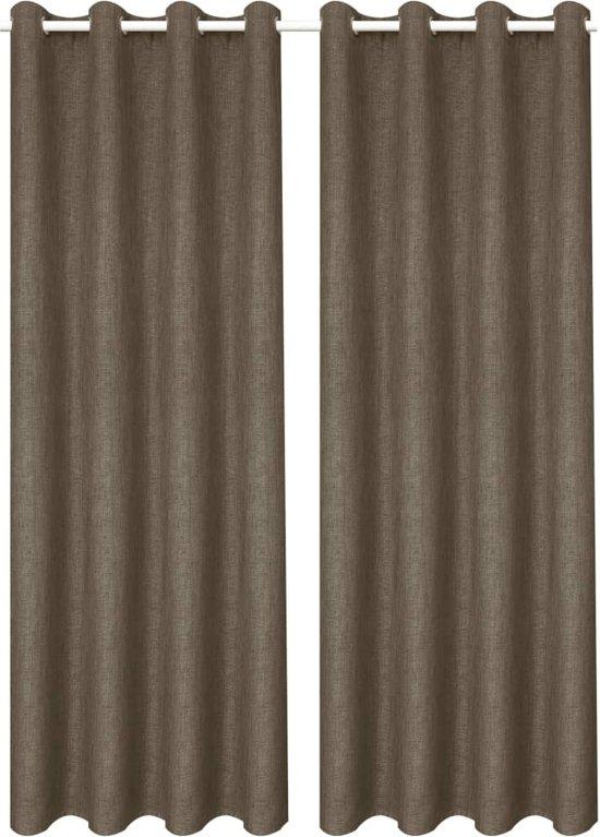 vidaXL Gordijnen linnen-look verduisterend 140x225 cm bruin 2 st