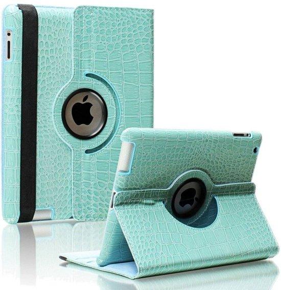 iPad Mini 1 / 2 / 3 - 360 Graden draaibare Hoes - krokodillen / Crocodile Lederen - Licht Blauw in Vierhuizen