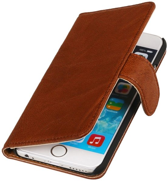LELYCASE Echt Leer Booktype Apple iPhone 6 Plus Bruin in Hollum