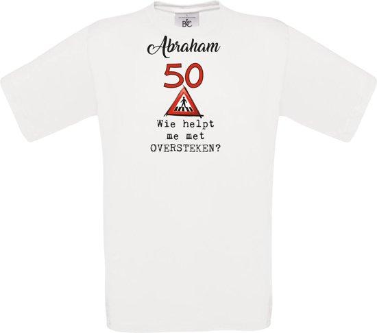 T-shirt - unisex - Wie helpt me met oversteken - Abraham - 50 jaar - wit - maat M