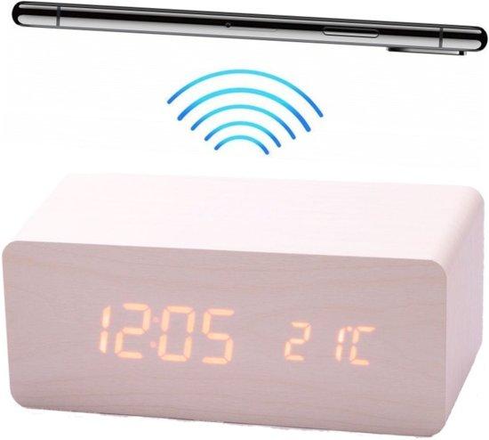 Déluxa Digitale Wekker met Houtlook - Ingebouwde Qi Oplader - Wit