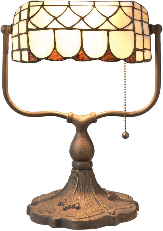Tiffany Tafellamp - bankierslamp Met trekschakelaar. 5729