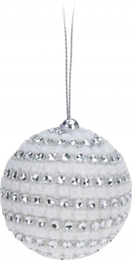 bol.com | Witte kerstballen met steentjes 5,5 cm - kerstboomversiering