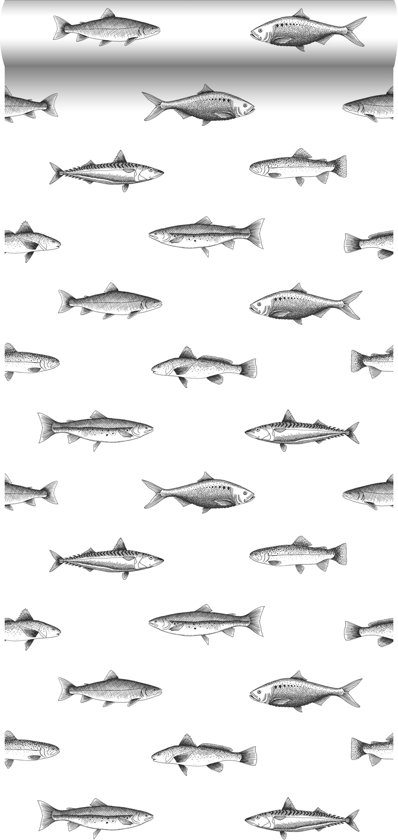 862c835138b ESTAhome behang pentekening vissen wit en zwart - 138967