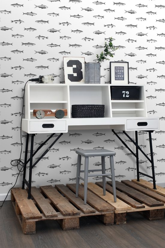 6cd1be527fd bol.com | ESTAhome behang pentekening vissen wit en zwart - 138967
