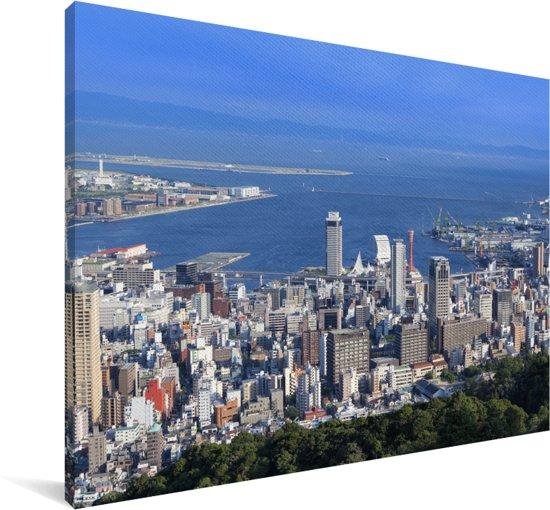 Skyline van de blauwe haven van Kobe in Japan Canvas 90x60 cm - Foto print op Canvas schilderij (Wanddecoratie woonkamer / slaapkamer) / Aziatische steden Canvas Schilderijen