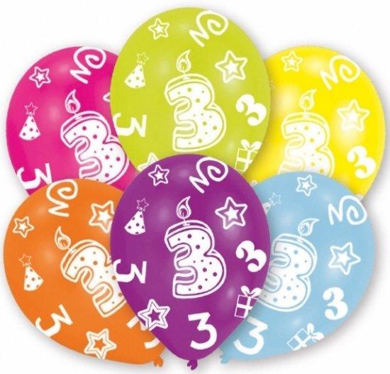 verjaardag 3 jaar bol.| 3 jaar leeftijd ballonnen 6 stuks   verjaardag  verjaardag 3 jaar