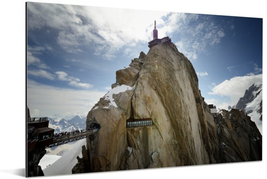 De Aiguille du Midi op een zonnige dag Aluminium 60x40 cm - Foto print op Aluminium (metaal wanddecoratie)