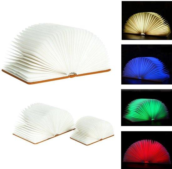Boek lamp - Sfeerverlichting - Bureaulamp - Leeslamp - 5 LED Lichtstanden - lederen Cover - Klein