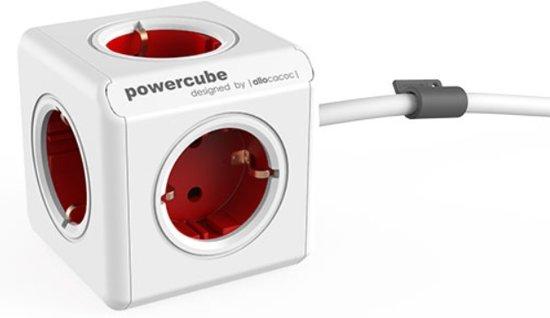 Allocacoc PowerCube Extended 5-voudige stekkerdoos - rood/wit - 3 meter