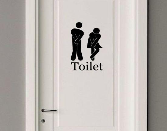 Bol deursticker toilet zwart muursticker decoratie wc