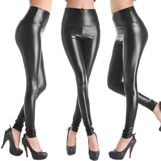 Leather Look Legging – Maat M – Lak Zwart