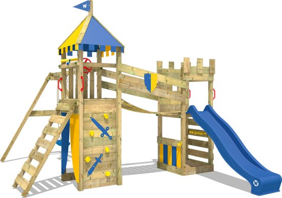 WICKEY Smart Fort Blauw - Speeltoestel met schommel