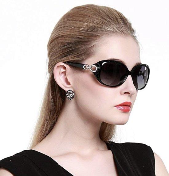 DUCO Dames Zonnebril Gepolariseerd Klassiek zwart - 100% UV-bescherming 1220 - incl. Hardcase, schroevendraaiertje en opbergzakje