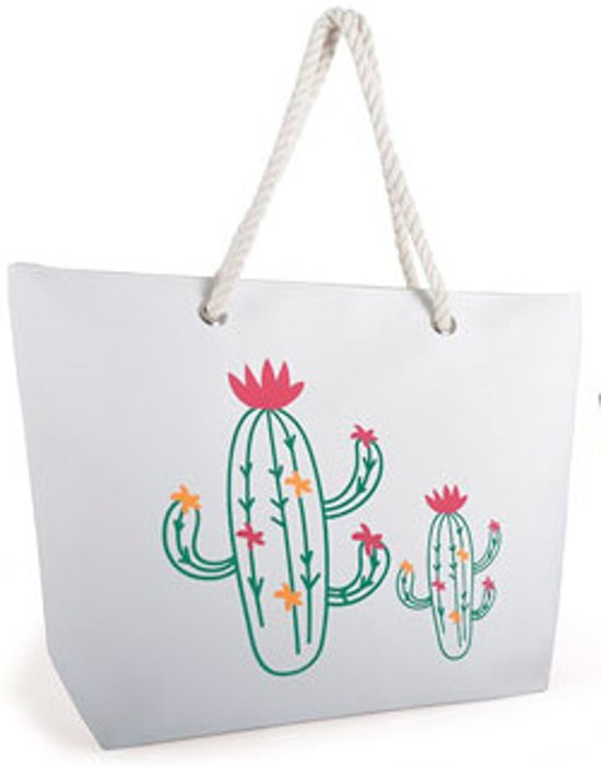 Luna Cove CACTUS Strandtas Shopper Canvas Wit Beach Bag