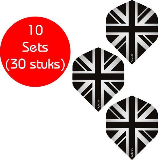 Dragon darts - 10 sets (30 stuks) - Engelse vlag flights - dart flights - zwart/clear