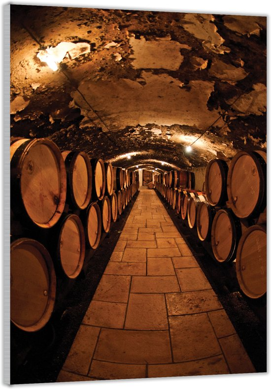 Plexiglas –Wijnvaten in de Wijnkelder– 60x90cm (Wanddecoratie op Plexiglas)