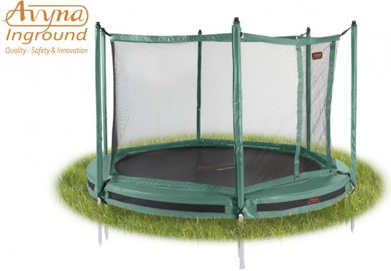 Avyna InGround trampoline PRO-LINE 2,45 (08 ft) Groen + net + InGround Tool Set (combi)
