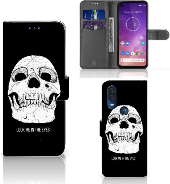 Motorola One Vision Telefoonhoesje met Naam Skull Eyes