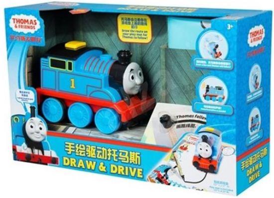Thomas Trein / Trek een lijn en Thomas de trein achtervolgt de getekende lijn.