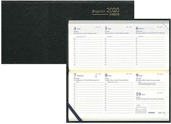 Agenda 2020 - Breprint - Brepols - Kunstleer - Liggend - 7d/2p - 6talig - 16,6 x 8,1 cm - Zwart