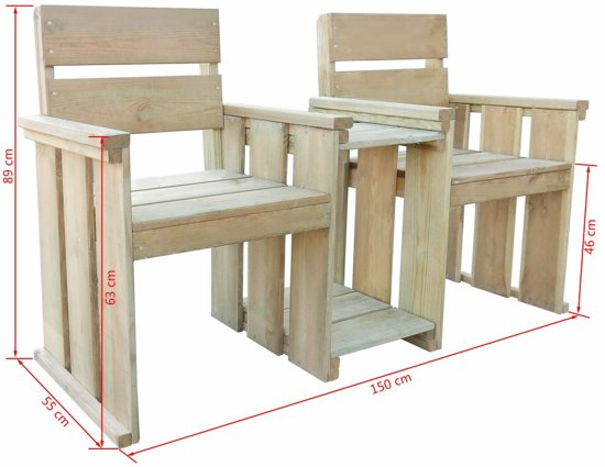 vidaXL Tuinbank tweezits 150 cm FSC geïmpregneerd grenenhout
