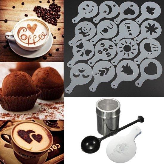 RVS Cappuccino / Cacao Strooier Set - Met Koffie / Cacao Sjablonen & Barista Tools