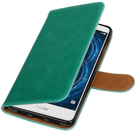 Groen Pull-Up PU booktype wallet cover hoesje voor Huawei Honor 6x 2016 in Peest