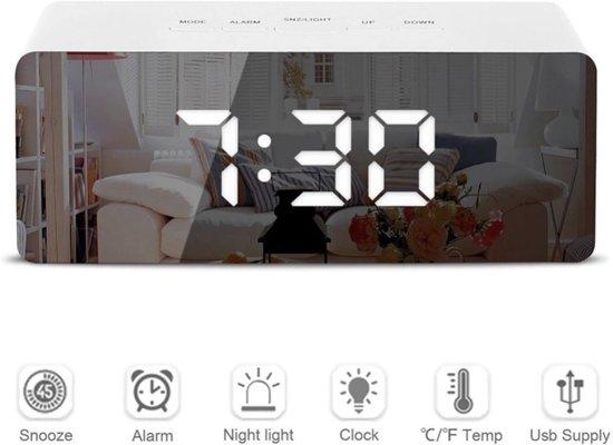 Multifunctionele Digitale LED Wekker MKGOODS | Spiegel | Alarm | Temperatuur | Snooze | Modern [ NIEUW DESIGN ]