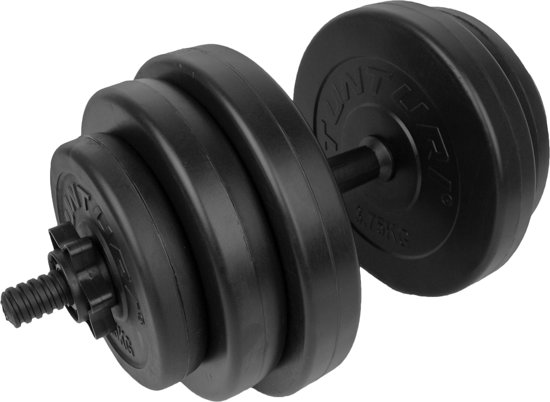 Tunturi Dumbbellset - Halterset - Totaal 15 kg - Zwart Vinyl