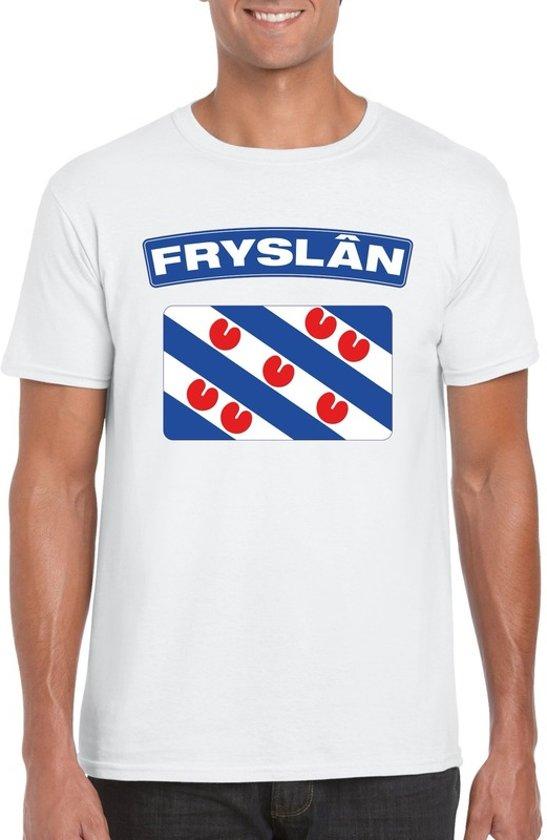 Friesland t-shirt met Friese vlag wit heren L