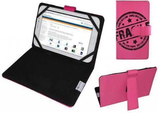 Hoes voor Trekstor Ebook Reader Pyrus 2 Led, Cover met Fragile Print, hot pink , merk i12Cover