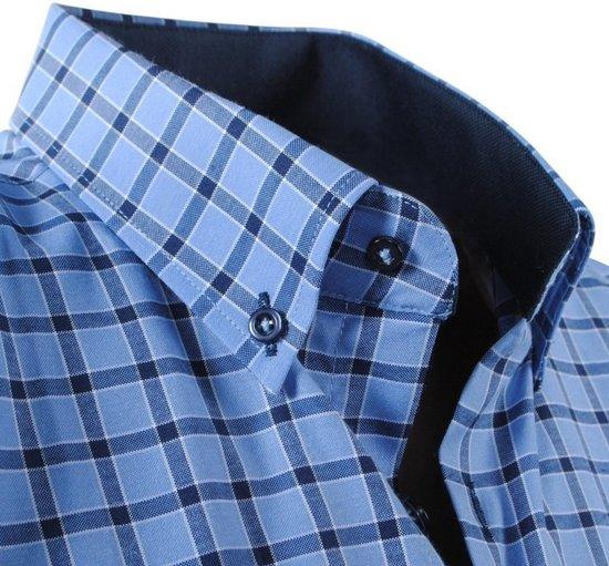 PoloHeren Overhemd Enrico Geblokt Borstzak Blauw SUqzMVp
