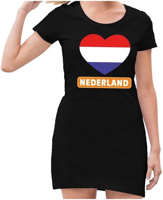 Zwart  jurkje met rood/wit/blauw hart en Nederland dames - Zwart Koningsdag kleding M