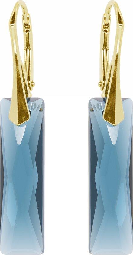 Zilveren Goudkleurige Oorbellen met Swarovski Elements Baquette Montana blauw