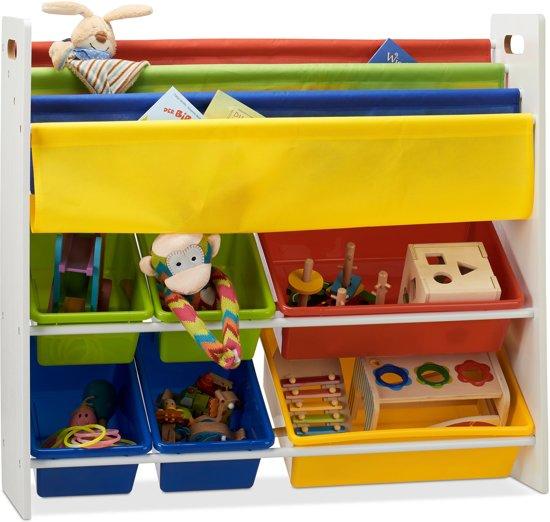 relaxdays speelgoedrek opbergrek kinderen boekenkast opbergmeubel speelgoed kleurrijk