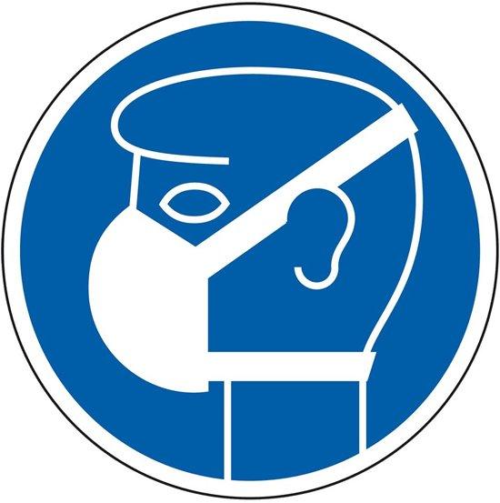 Gebodsbord 'Masker dragen verplicht' , blauw-wit