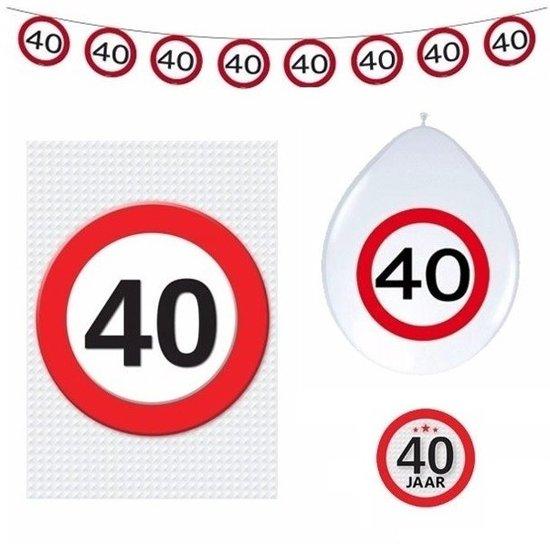 versiering 40 jaar bol.| 40 jaar verkeersbord versiering basis set   40ste  versiering 40 jaar