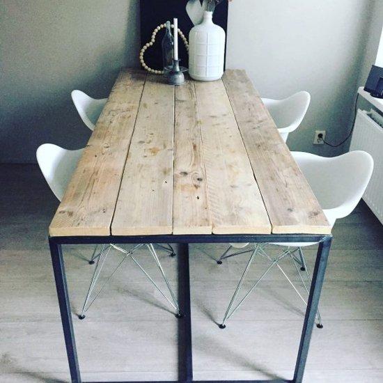 Stalen Design Tafel.Bol Com Lok Living Eettafel Stalen Frame Met Steigerhout Eettafel