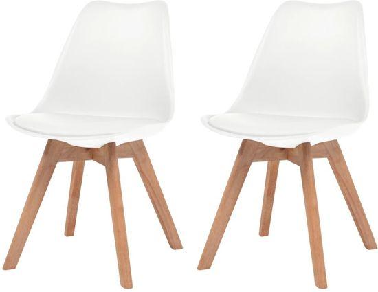 Eettafel stoelen Wit 2 STUKS Kunstleer / Eetkamer stoelen / Extra stoelen voor huiskamer / Bezoekersstoelen