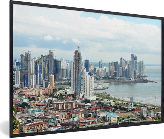 Foto in lijst - Uitzicht over Panama Stad fotolijst zwart 60x40 cm - Poster in lijst (Wanddecoratie woonkamer / slaapkamer)