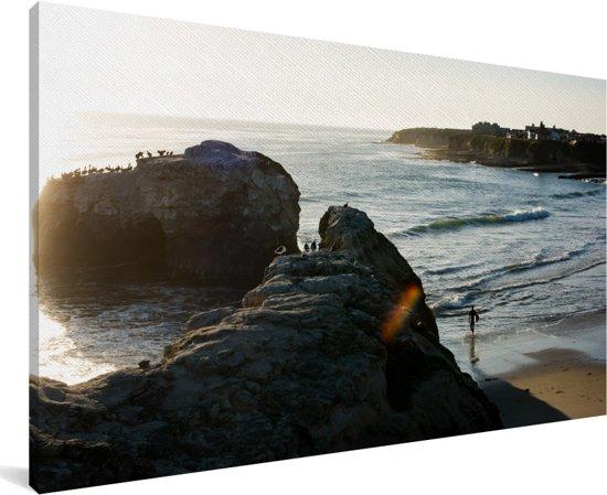 De kustlijn van Santa Cruz Californië op een zonnige dag Canvas 80x40 cm - Foto print op Canvas schilderij (Wanddecoratie woonkamer / slaapkamer)