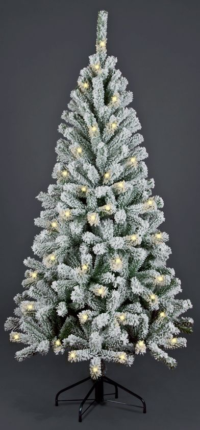 kunstkerstboom met sneeuw flock pvc promo lengte 150 cm 200 warm led lampjes