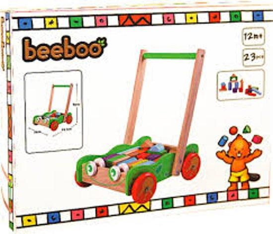 Beeboo - Kikker loopwagen gevuld met gekleurde houten blokken