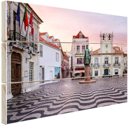 Stadsplein Lissabon Hout 160x120 cm - Foto print op Hout (Wanddecoratie) XXL / Groot formaat!