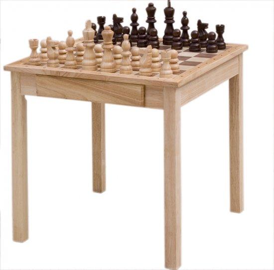 Afbeelding van het spel Engelhart Schaaktafel Rubberhout Met Schaakset